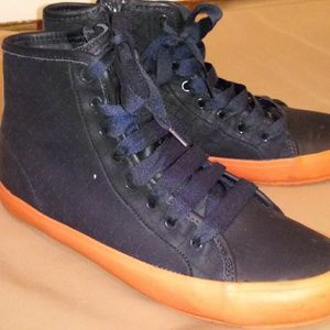 Camper Textured Leather Side Zip High Top Sneakers